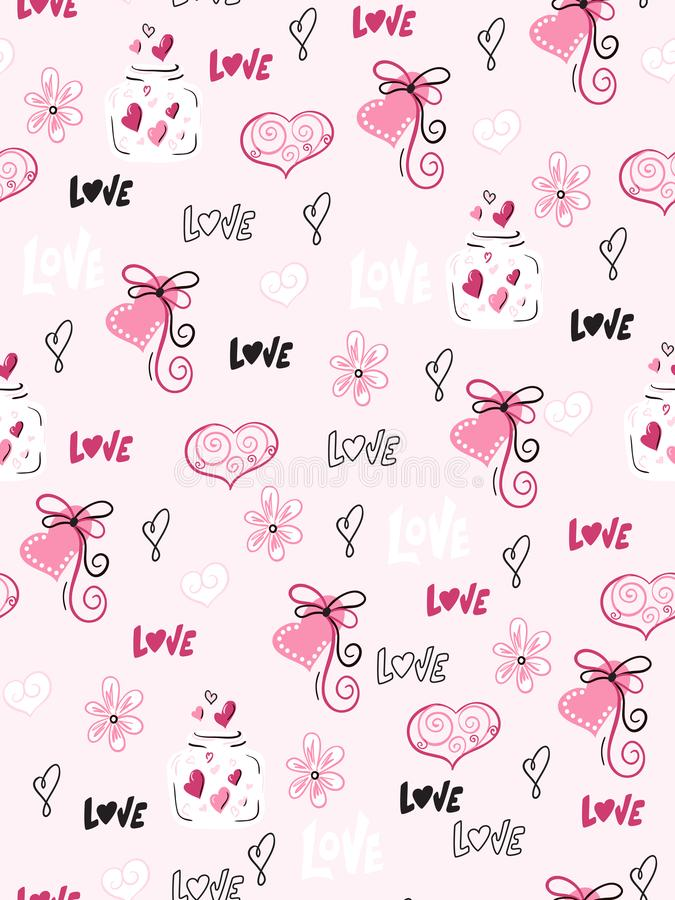 Vector seamless valentine`s day pattern from doodle hand drawn hearts, flovers and love labels vector illustration