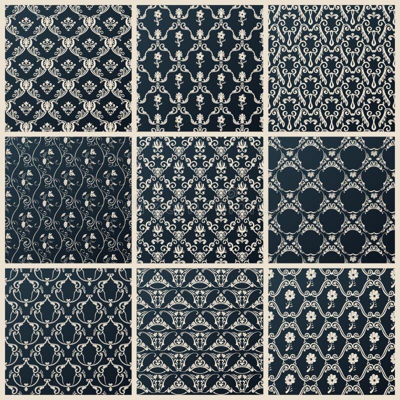 Vector seamless vintage backgrounds set black baroque wallpaper. Vector seamless vintage backgrounds. Abstract set black baroque wallpaper vector illustration