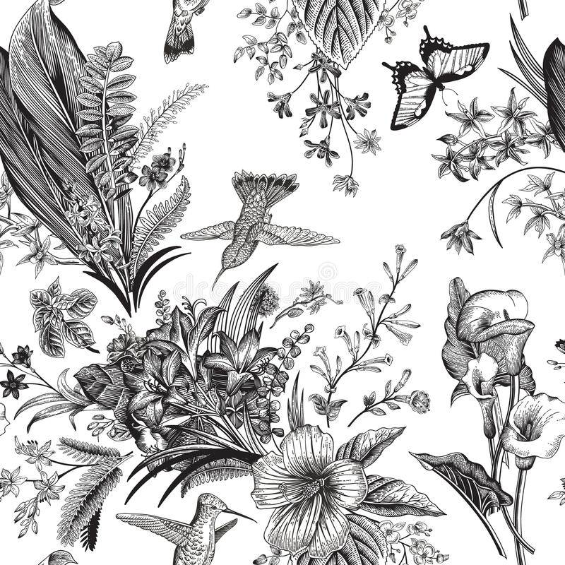 Vector seamless vintage floral pattern. Exotic flowers and birds. vector illustration