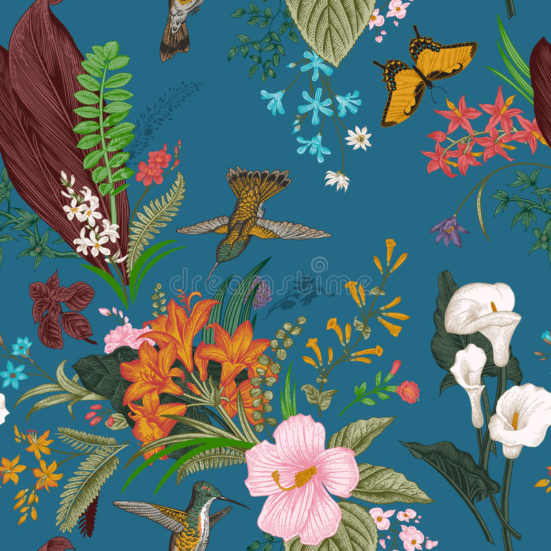 Vector seamless vintage floral pattern. Exotic flowers and birds. stock illustration
