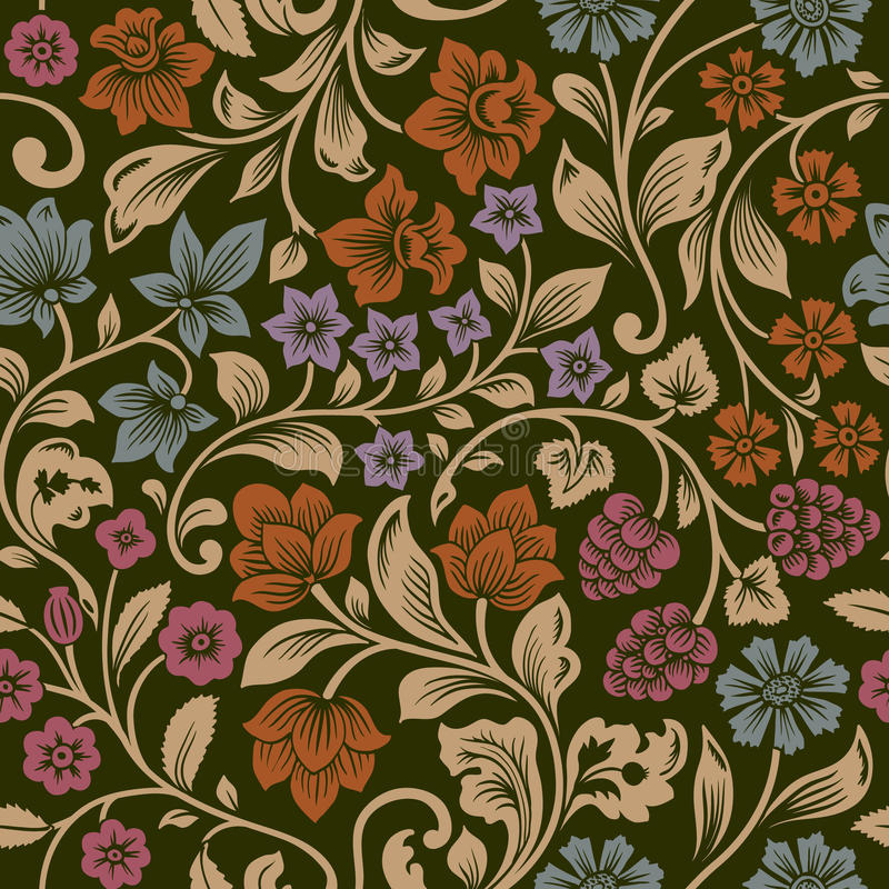 Vector Seamless Vintage Floral Pattern. Stock Vector
