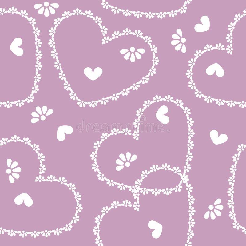 Vector seamless vintage heart pattern vector illustration