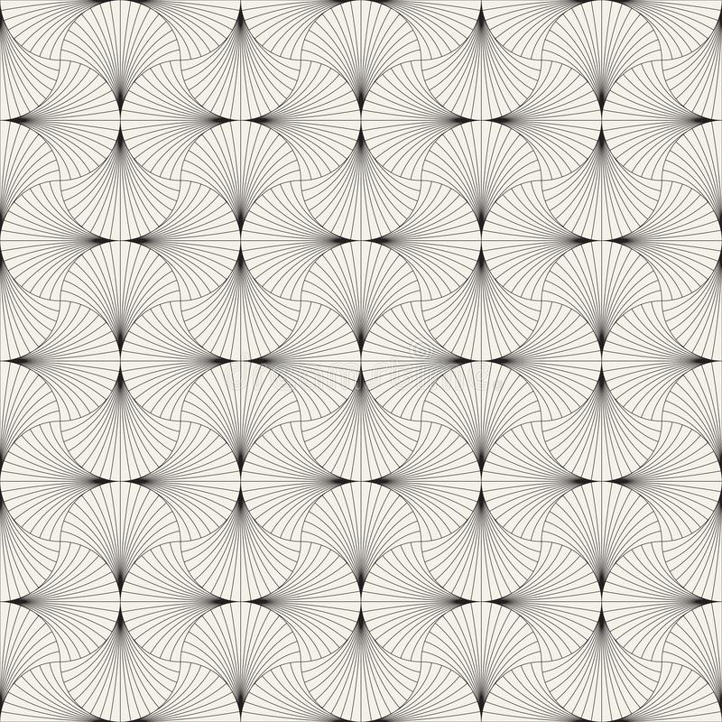 Vector seamless vintage pattern of overlapping arcs in art deco style. Modern stylish abstract texture. Repeating geometric tiles. From striped elements stock photos