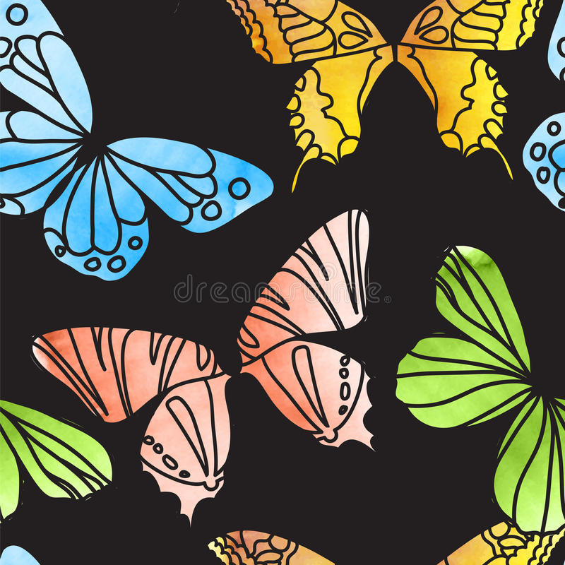 Vector Seamless Watercolor Butterfly Pattern royalty free illustration