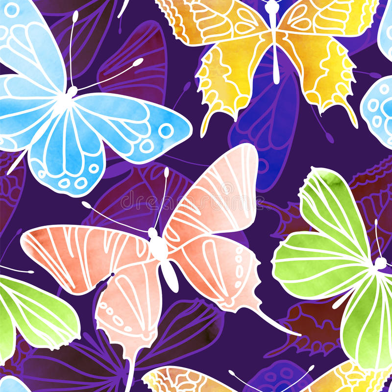 Vector Seamless Watercolor Butterfly Pattern stock illustration