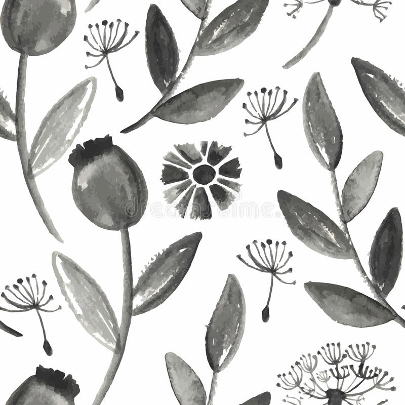 Vector Seamless Watercolor Floral Pattern vector illustration