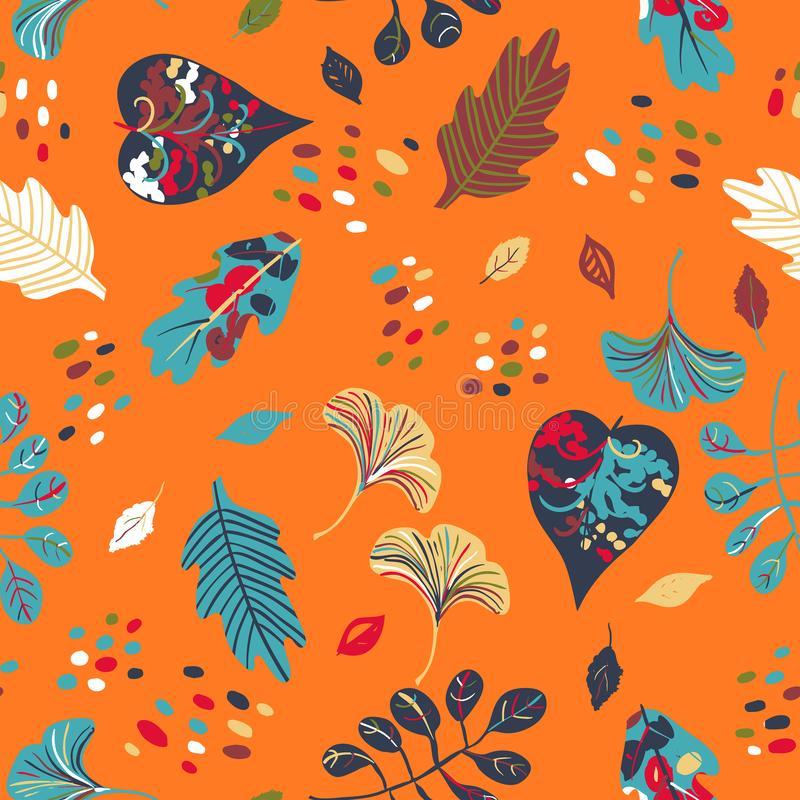 Vector seamless watercolor pattern with fall colorful leaves. Flower and dots on orange background. Hand drawn floral autumn background. Cute floral print with stock illustration