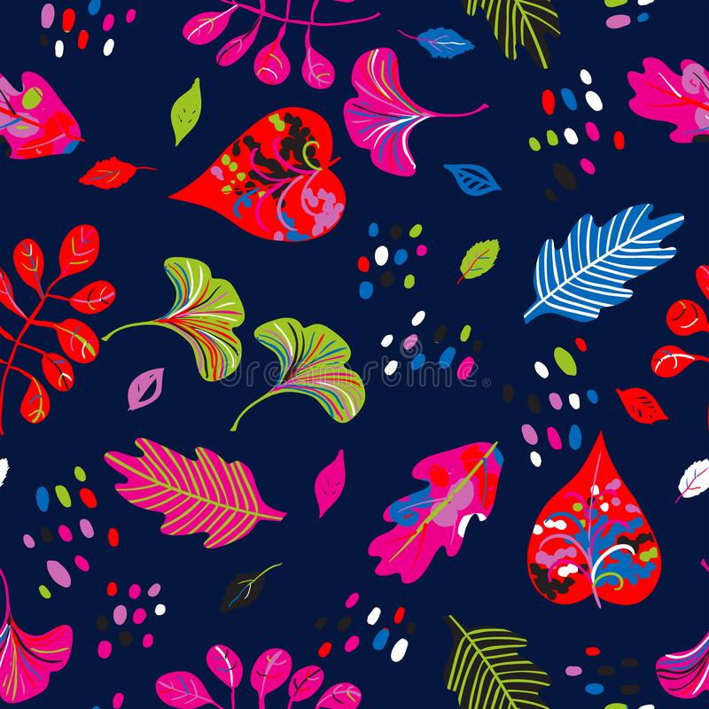 Vector seamless watercolor pattern with fall colorful leaves. Flowers and dots on black background. Hand drawn floral autumn background. Cute floral print with vector illustration