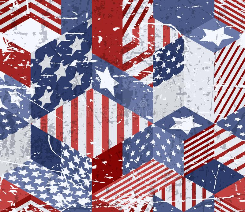 Vector seamless watercolor USA flag pattern. 3d isometric cubes background in american flag colors. vector illustration