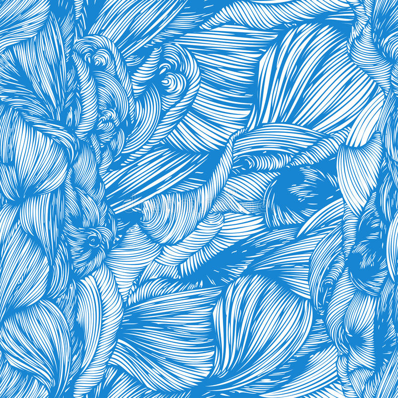 Vector seamless wave hand drawn pattern. Can be used for wallpaper, pattern fills, print and cloth, fabrics and canvas, web page royalty free illustration