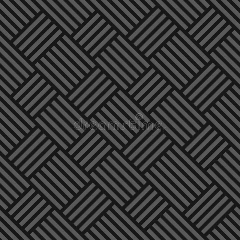 Vector seamless weave geometric pattern - dark gray striped texture. Endless fabric background. vector illustration