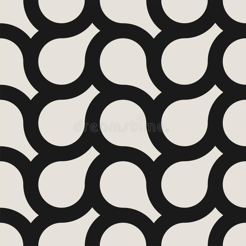 Vector seamless weave geometric pattern. Endless stylish monochrome background. Creative repetitive design royalty free illustration