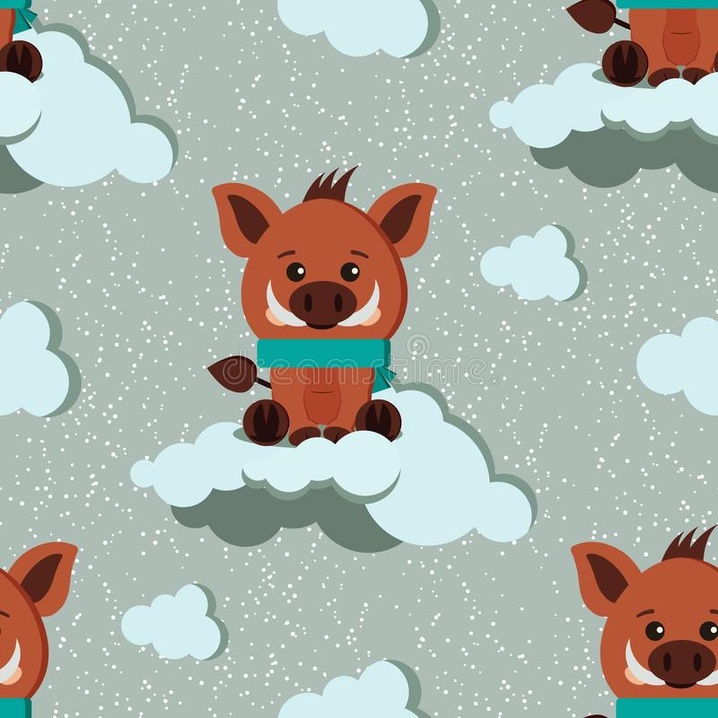 Vector seamless winter pattern with cute wild boar with scarf, clouds ornament on snowy background stock illustration
