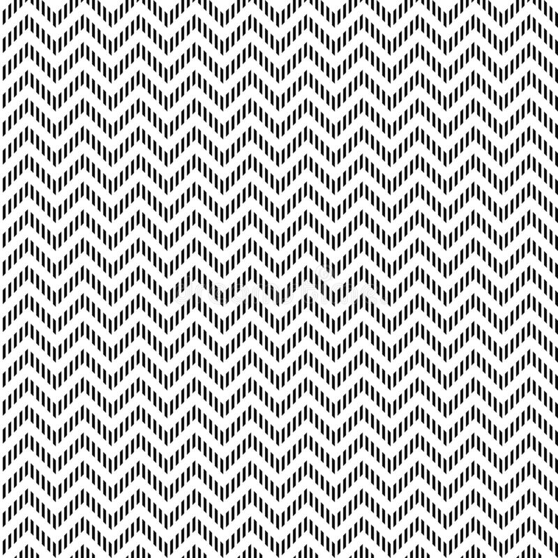 Vector seamless zigzag pattern. Chevron texture. Black-and-white background. Monochrome dashed design. vector illustration