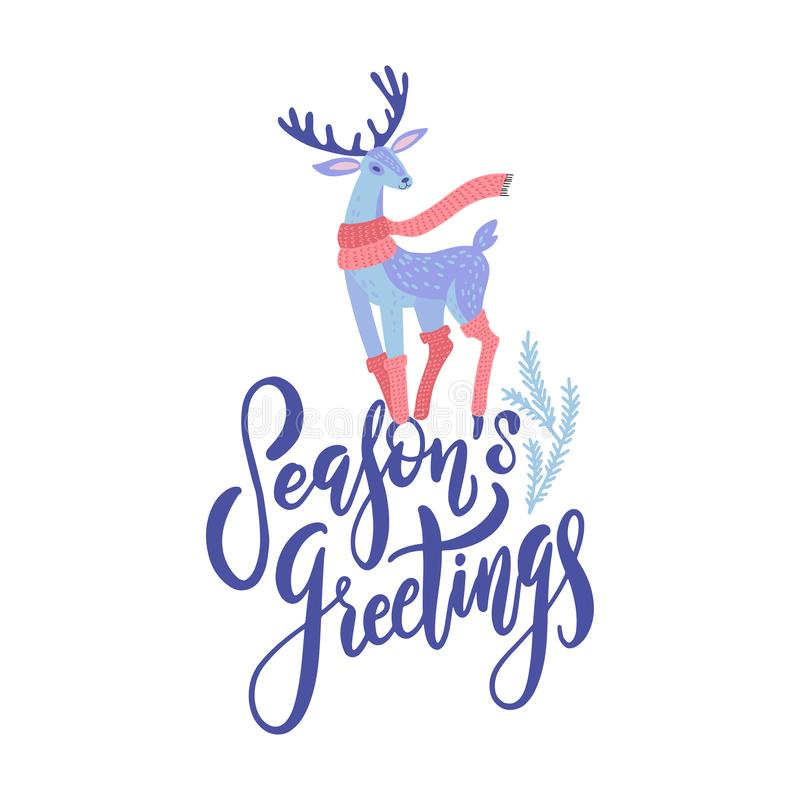 Vector Season`s Greetings lettering design with hand drawn cartoon deer. Christmas or New Year`s decor. Happy Holidays card, vector illustration