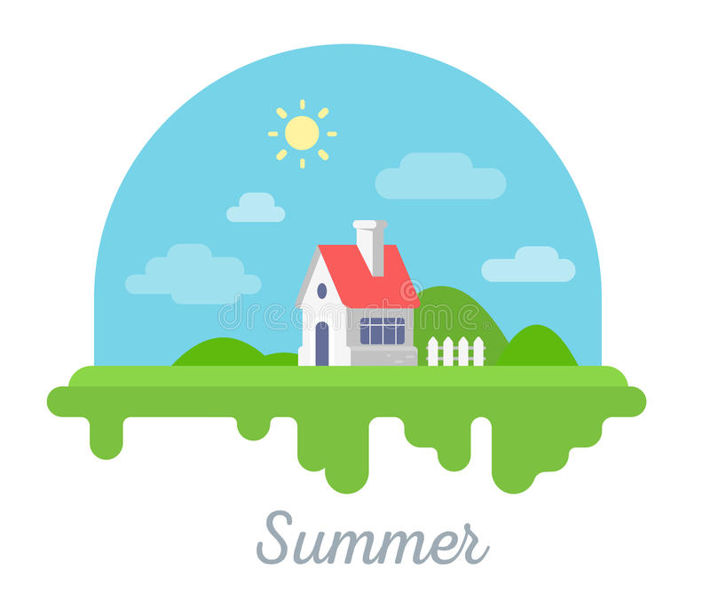 Vector seasonal illustration of beautiful house with chimney and. Fence on green grass. Summer season concept with sun on white background. Family suburban home vector illustration
