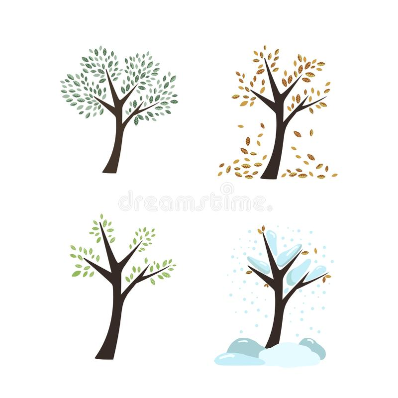 Free Vector Seasons Autumn Winter Spring Summer Trees Leaves Tree Trunks Forest Garden Icons Nature Color On White Background Stock Photography - 125604812