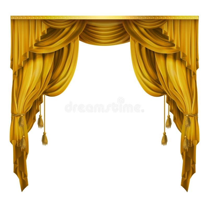 Vector a seda, cortina teatral de veludo com dobras, drapeje-a Elemento da decoração Grande conceito para a apresentação, mostra ilustração stock