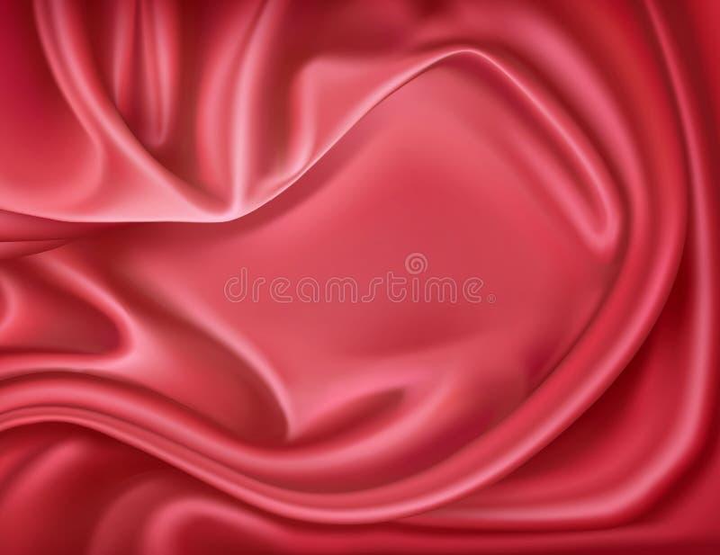 Vector a seda vermelha realística luxuosa, matéria têxtil do cetim ilustração stock