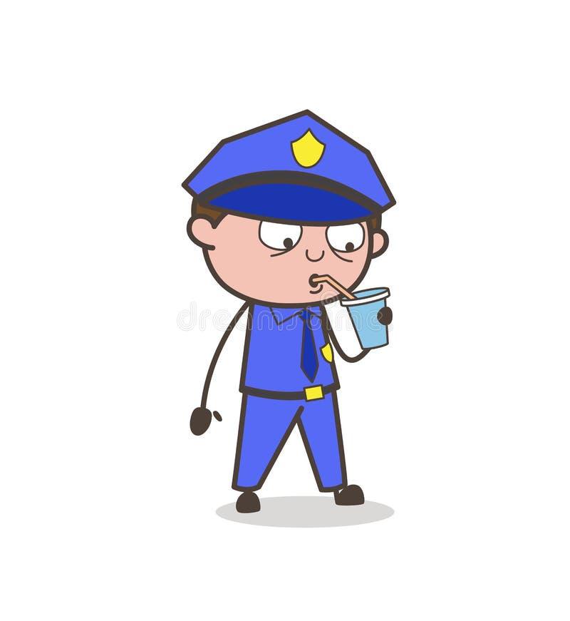 Vector sediento de Drinking Cold Drink del oficial libre illustration
