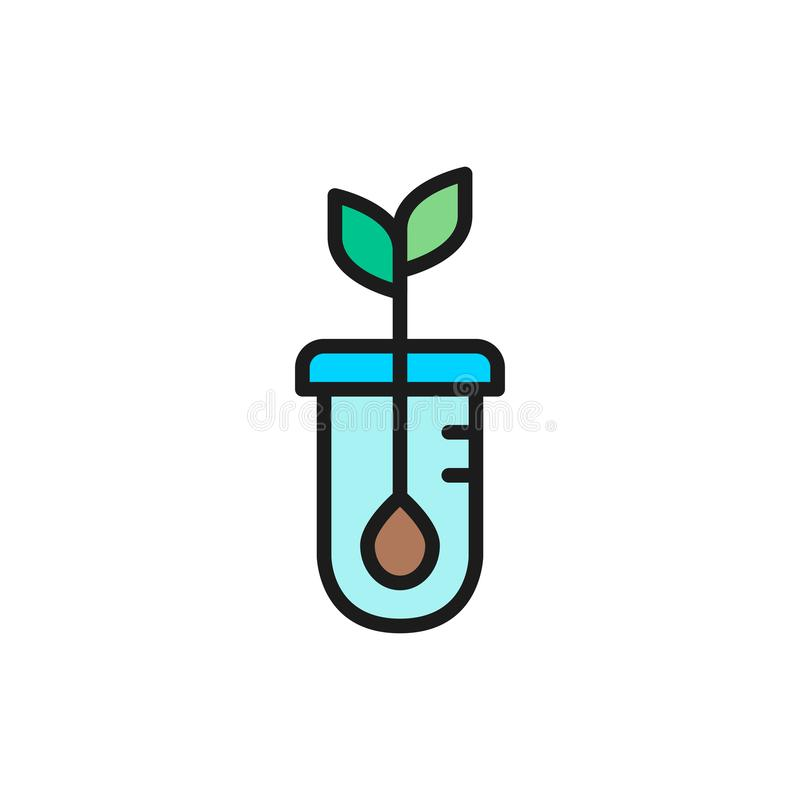 Vector seed germination, DNA plant flat color line icon. stock illustration