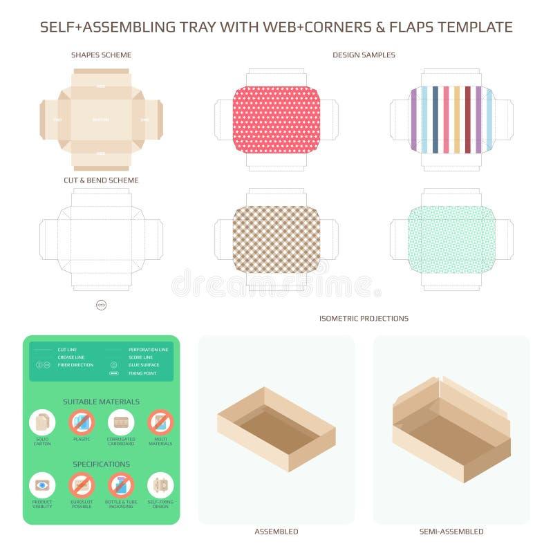 Vector Selbstzusammenbauenden Pappbehälter mit Netzecken und flattert die eingestellten Schablonen stock abbildung