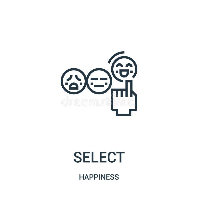 vector selecto del icono de la colección de la felicidad Línea fina ejemplo selecto del vector del icono del esquema Símbolo line libre illustration