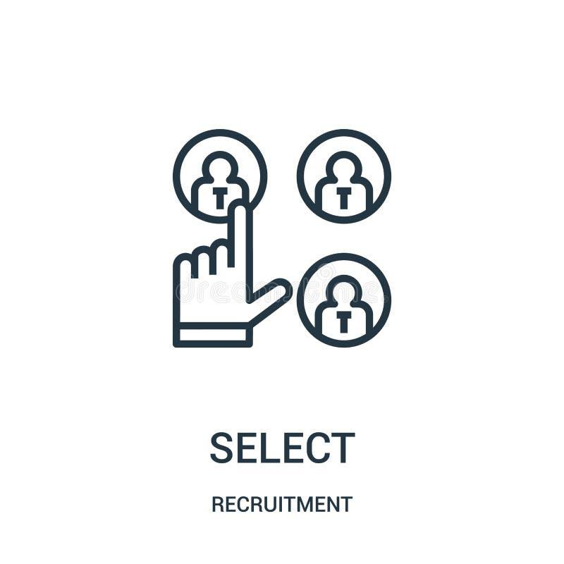vector selecto del icono de la colección del reclutamiento L?nea fina ejemplo selecto del vector del icono del esquema stock de ilustración
