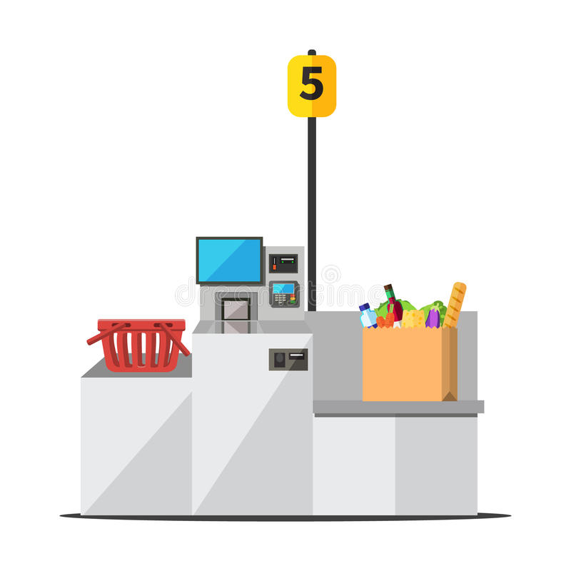 Vector self checkout machine. Vector big paper shopping bag full of grocery standing on a grey metal self checkout machine with cash and card payment, and vector illustration