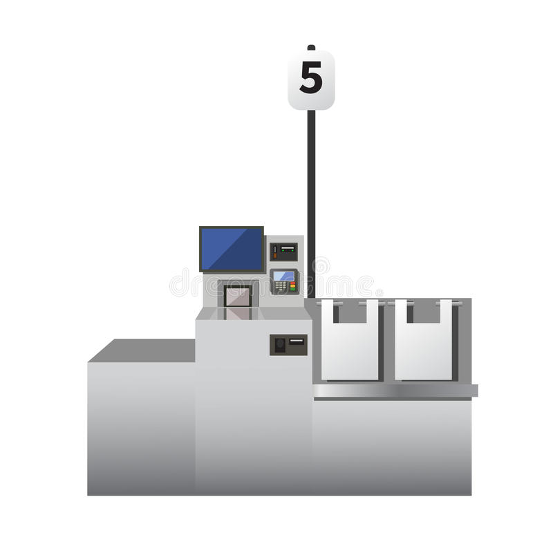 Vector self checkout machine. Grey metal register with touchscreen, options for cards and cash payment. Bagging area. Isolated object on white background stock illustration