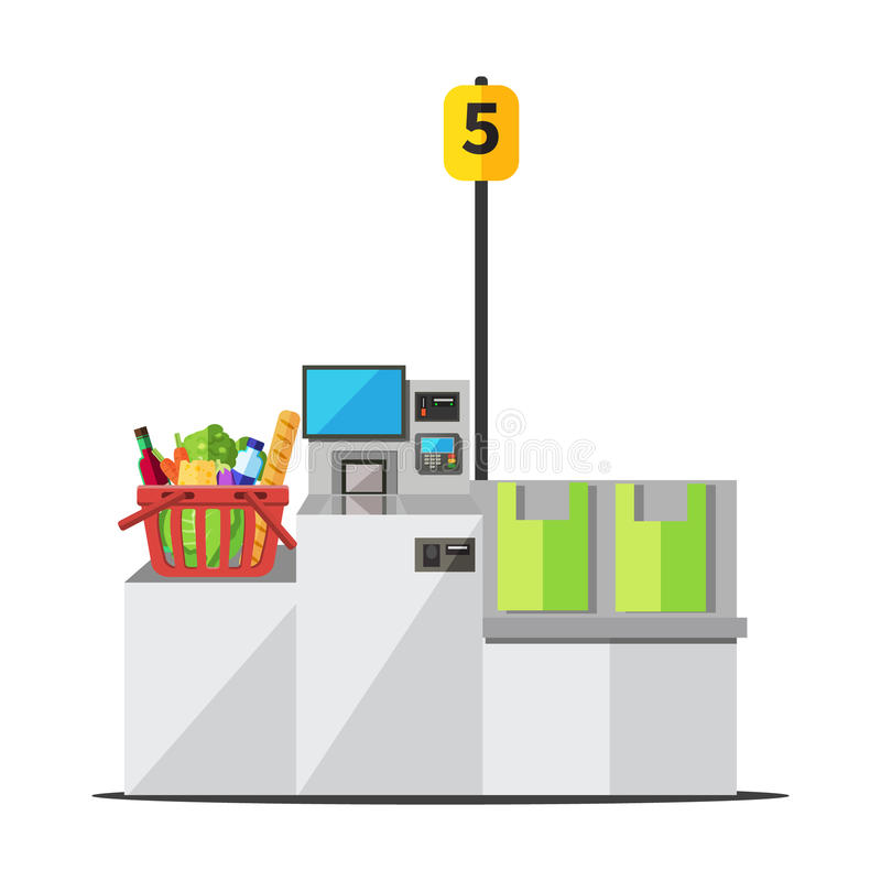 Vector self checkout machine. Vector red shopping basket full of grocery standing on a grey metal self checkout machine with cash and card payment, and bagging stock illustration