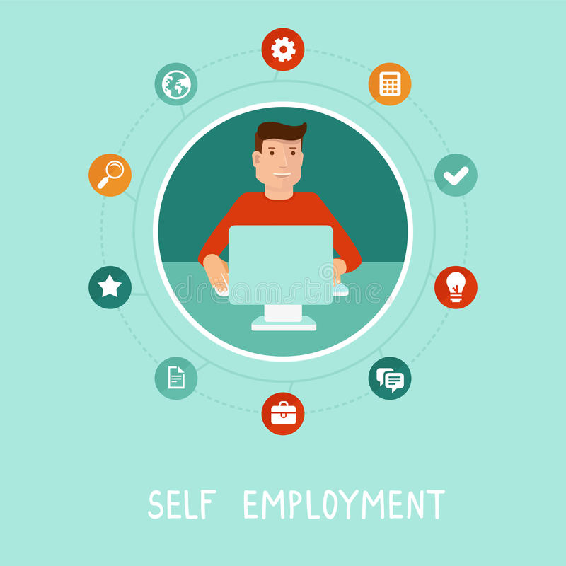 Free Vector Self Employed Man In Flat Style Stock Photo - 43053830