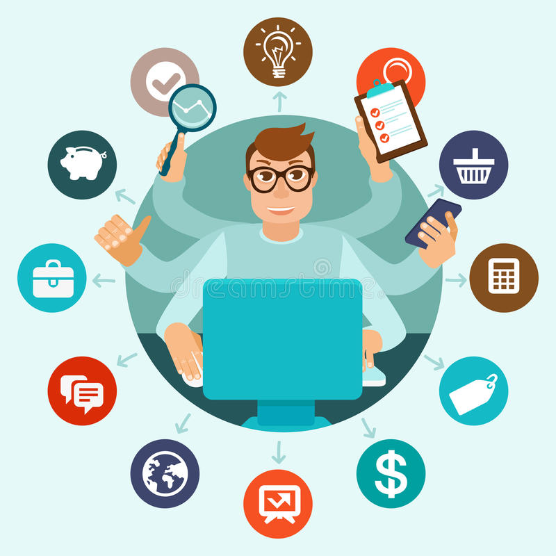 Vector self employment concept in flat style. Multitasking man working on different projects from his home office royalty free illustration