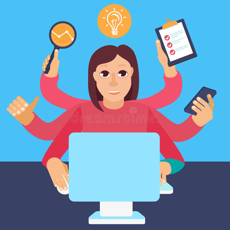 Vector self employment concept in flat style. Multitasking woman working on different projects from her home office stock illustration