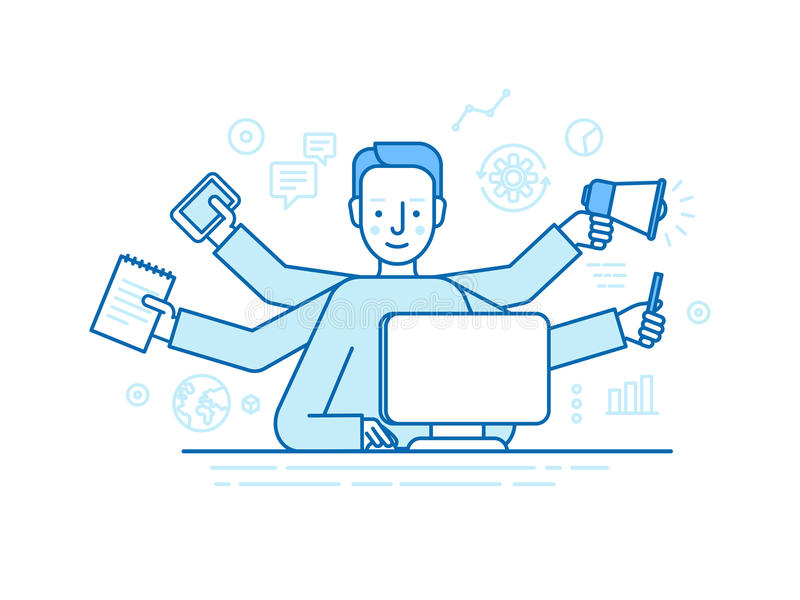 Vector self employment concept in trendy flat linear style - multitasking freelancer. Man working on different projects from his home office - jack of all vector illustration