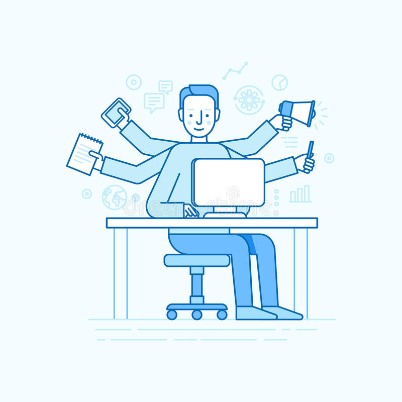 Vector self employment concept in trendy flat linear style royalty free illustration