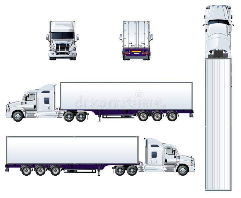 Vector semi die vrachtwagenmalplaatje op wit wordt geïsoleerd vector illustratie