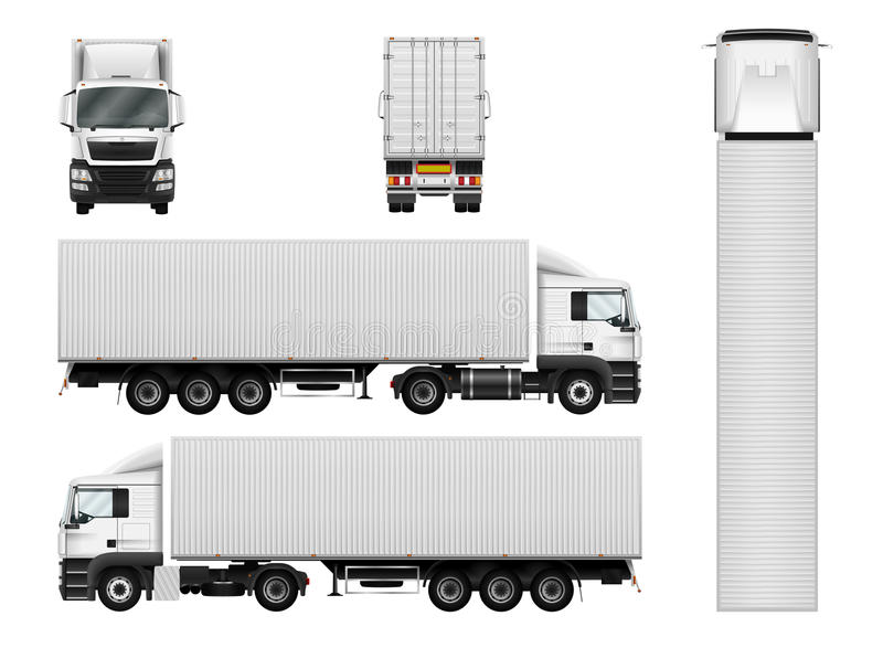 Vector semi truck template with cargo container. Truck trailer i stock illustration