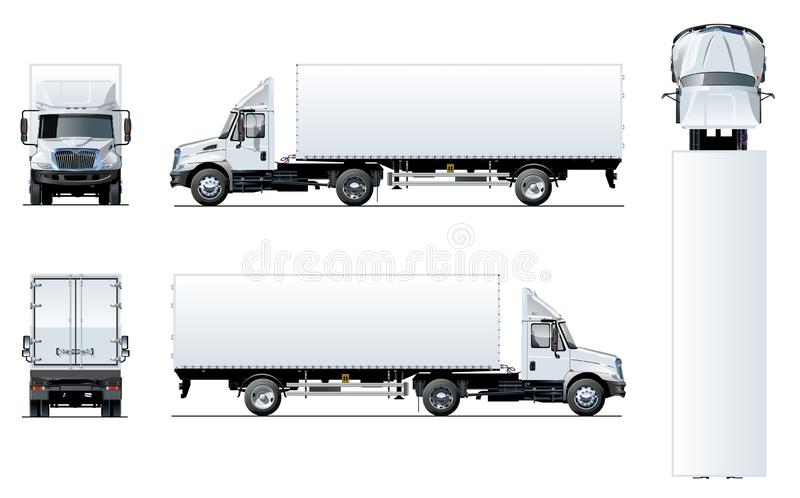 Vector semi truck template isolated on white. Available EPS-10 separated by groups and layers for easy edit royalty free illustration