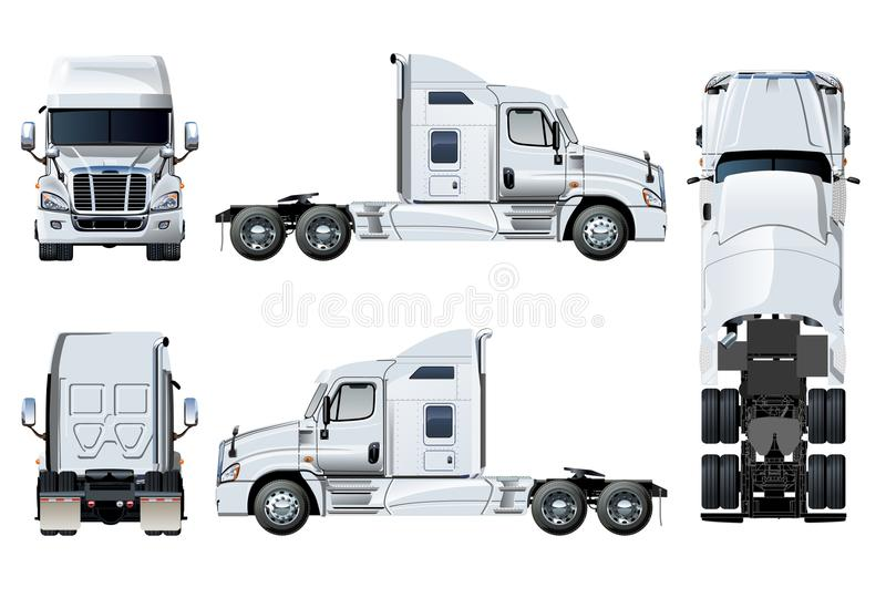 Vector semi-truck template isolated on white stock illustration