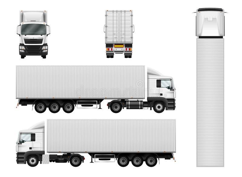 Vector semi vrachtwagenmalplaatje met ladingscontainer Vrachtwagenaanhangwagen i stock illustratie