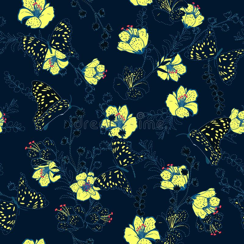 Vector semleass pattern flower and butterflies with dash and embroidery technic beautiful delicate for fashion wallpaper and ect royalty free illustration