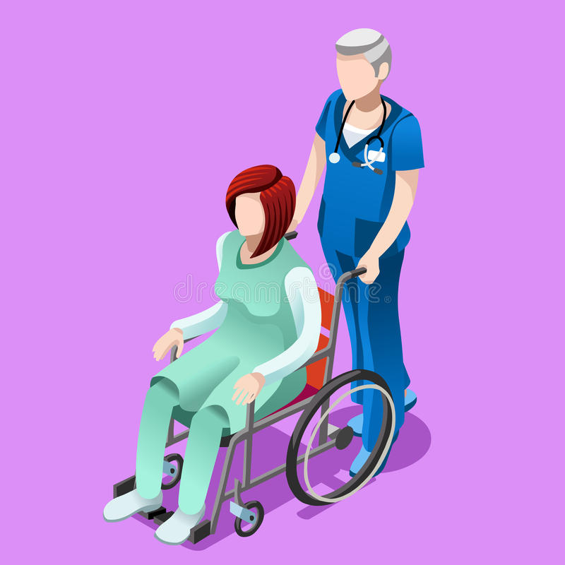 Vector Senior Male Nurse and Patient Medical Isometric People royalty free illustration
