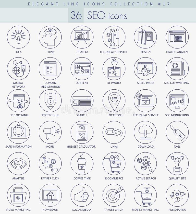 Vector SEO outline icon set. Elegant thin line style design stock illustration