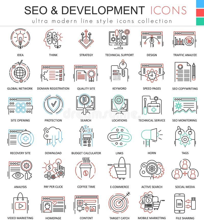 Vector SEO y la línea ultra moderna iconos del esquema del color del desarrollo para los apps y el diseño web ilustración del vector