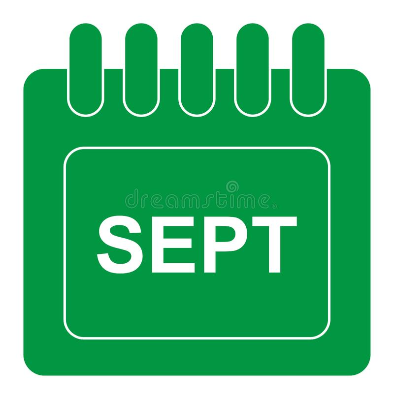Vector september on monthly calendar green icon royalty free illustration