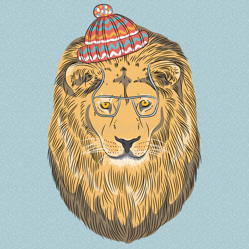 Vector serious cartoon hipster Lion stock photography