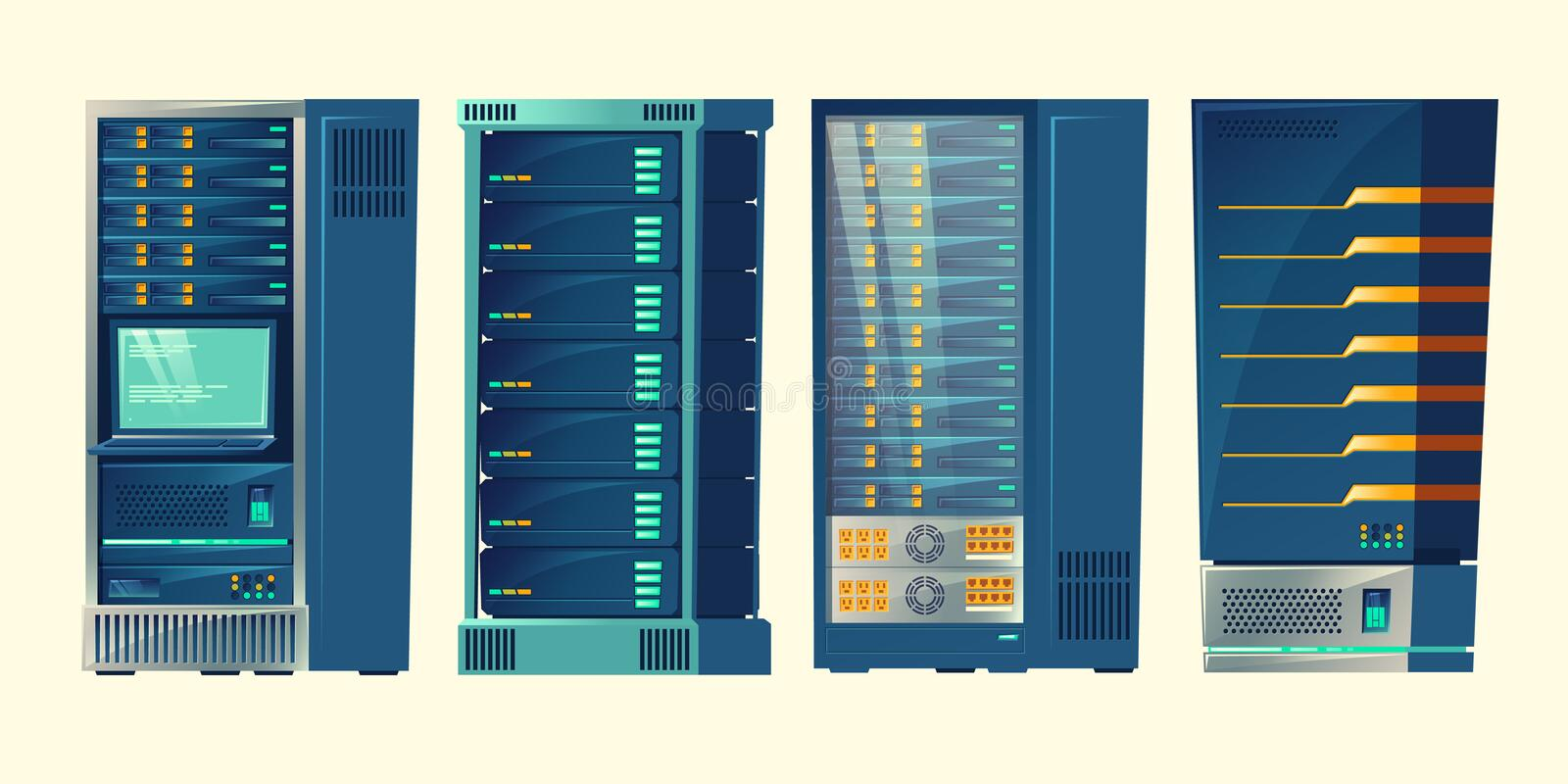 Vector server racks, database room, data center. Vector set of various cartoon server racks, database room, data center with cloud computer connection. Hosting stock illustration