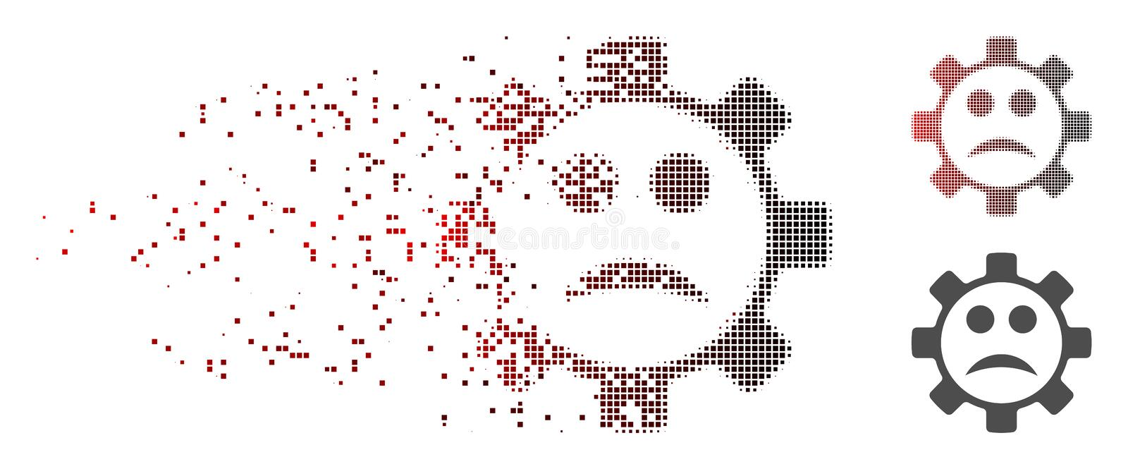 Sparkle Pixel Halftone Service Gear Sad Smiley Icon. Vector service gear sad smiley icon in sparkle, dotted halftone with red to black horizontal gradient and vector illustration