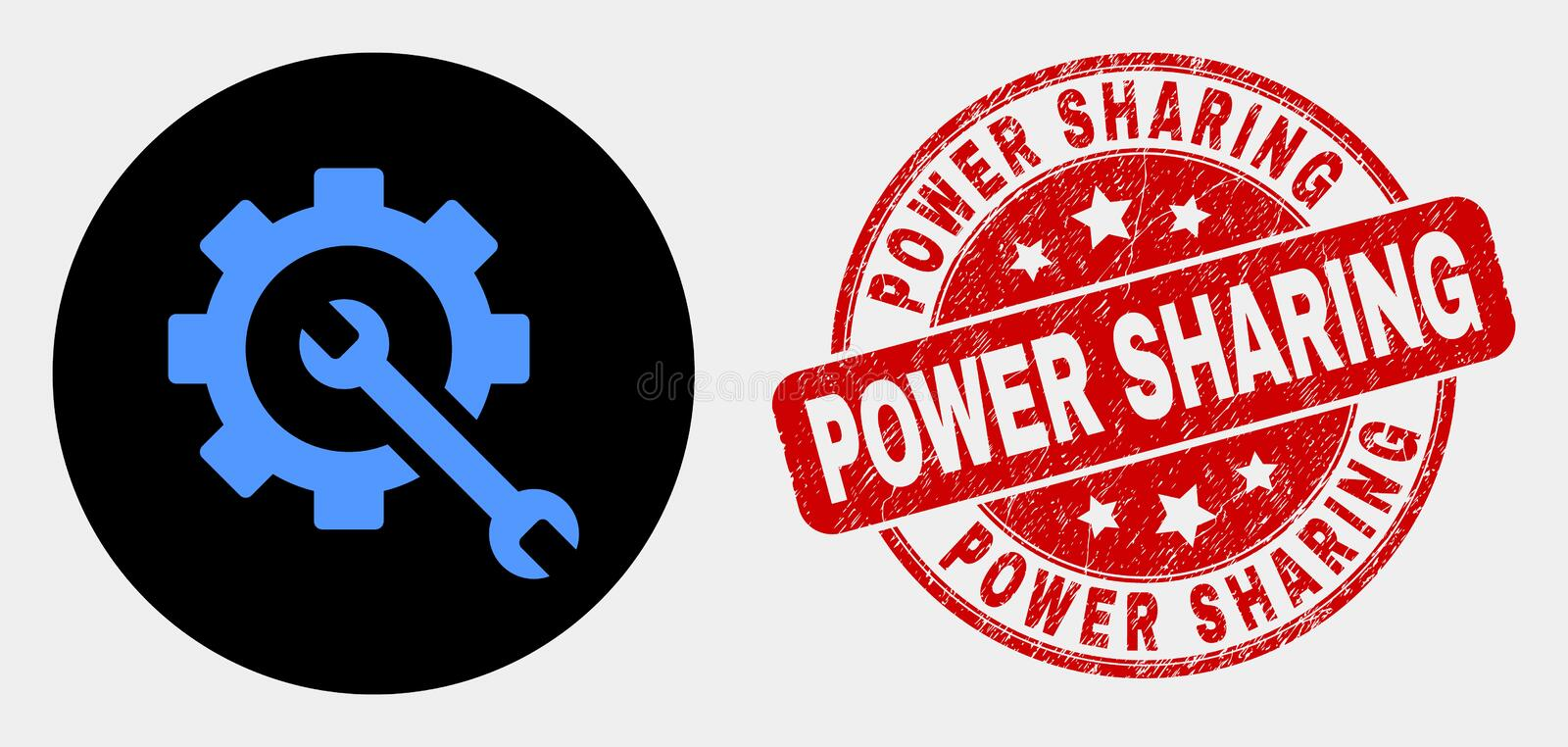 Vector Service Tools Icon and Scratched Power Sharing Watermark. Rounded service tools icon and Power Sharing seal. Red rounded scratched seal with Power Sharing royalty free illustration